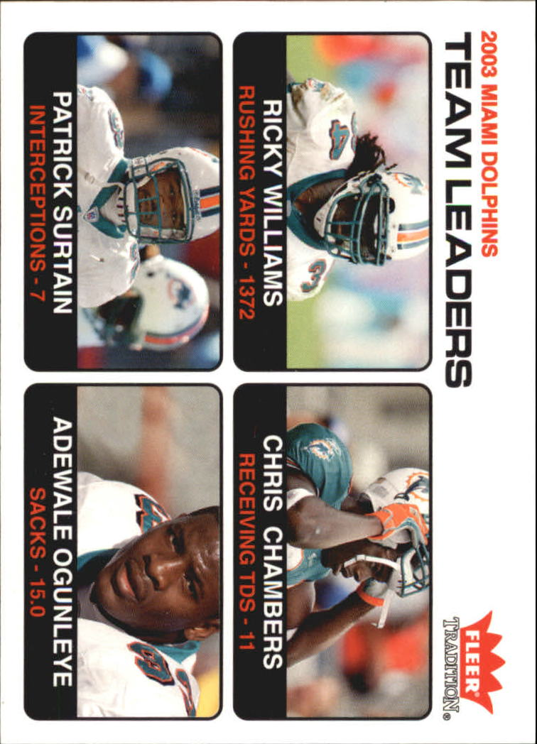 2004 Fleer Tradition #1 Ricky Williams TL/Chris Chambers/Adewale Ogunleye/Patrick Surtain