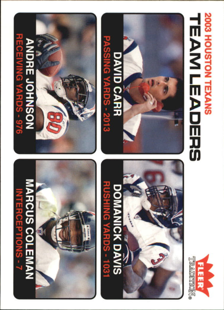 2004 Fleer Tradition #8 David Carr TL/Domanick Davis/Andre Johnson/Marcus Coleman