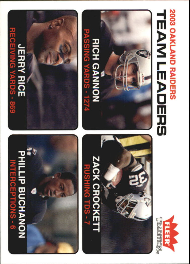 2004 Fleer Tradition #9 Rich Gannon TL/Zack Crockett/Jerry Rice/Phillip Buchanon
