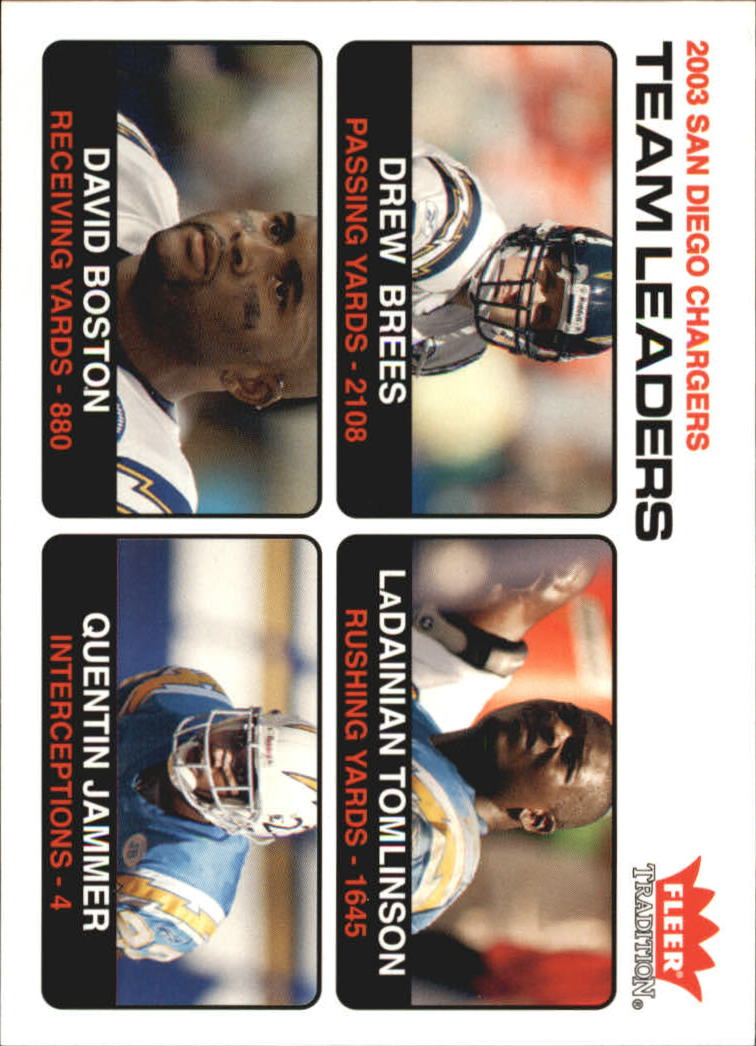 2004 Fleer Tradition #12 Drew Brees TL/LaDainian Tomlinson/David Boston/Quentin Jammer front image