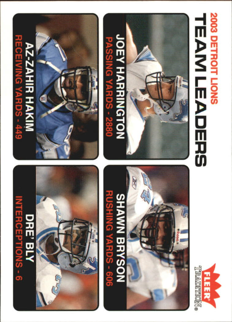 2004 Fleer Tradition #24 Joey Harrington TL/Shawn Bryson/Az-Zahir Hakim/Dre Bly