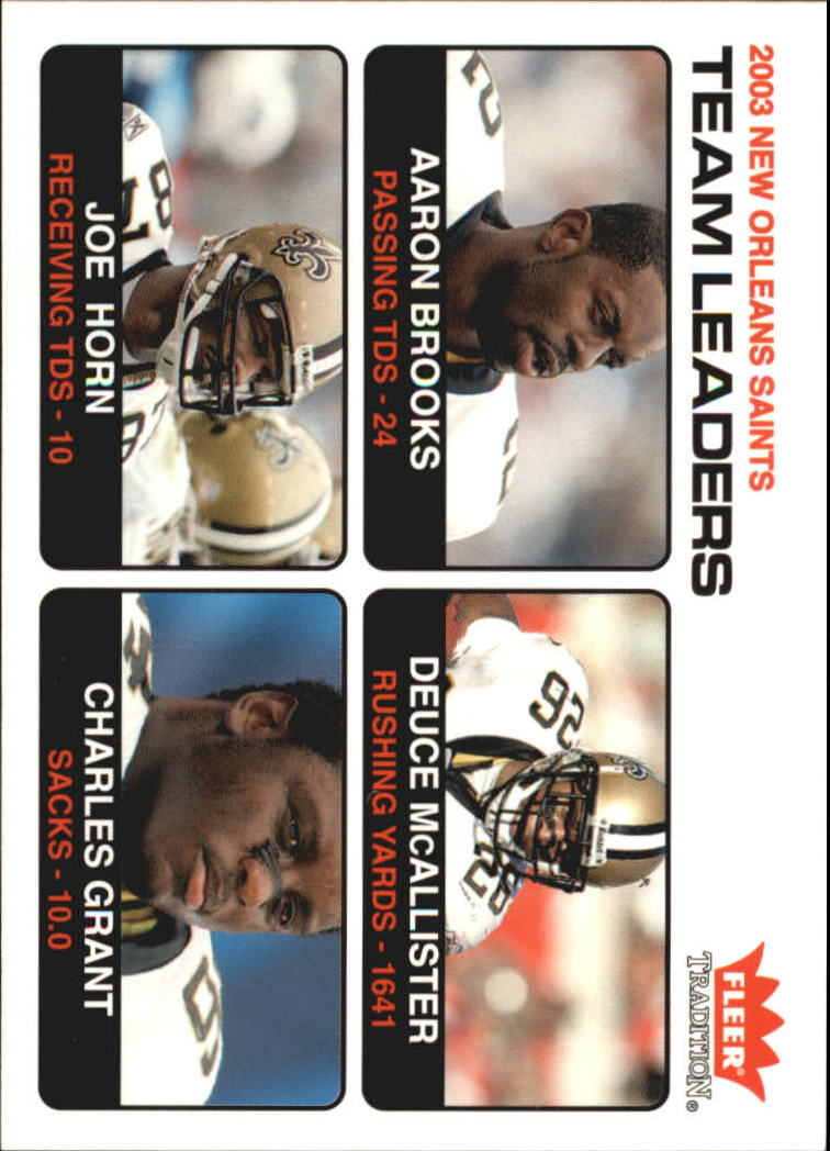 2004 Fleer Tradition #32 Aaron Brooks TL/Deuce McAllister/Joe Horn/Charles Grant