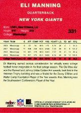 2004 Fleer Tradition #331 Eli Manning RC back image