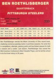 2004 Fleer Tradition #333 Ben Roethlisberger RC back image