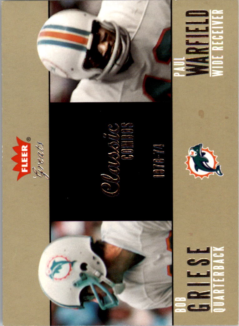 2004 Greats of the Game Classic Combos #9CC Bob Griese/1970/Paul Warfield front image