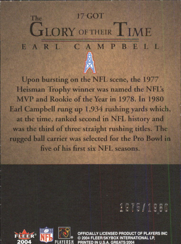 2004 Greats of the Game Glory of Their Time #GOT17 Earl Campbell/1980 back image
