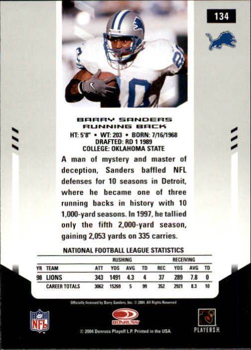 2004 Leaf Certified Materials #134 Barry Sanders FLB back image