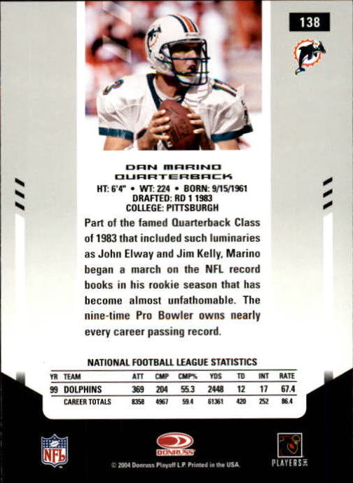 2004 Leaf Certified Materials #138 Dan Marino FLB back image