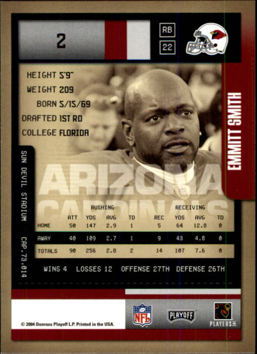 2004 Playoff Contenders #2 Emmitt Smith back image