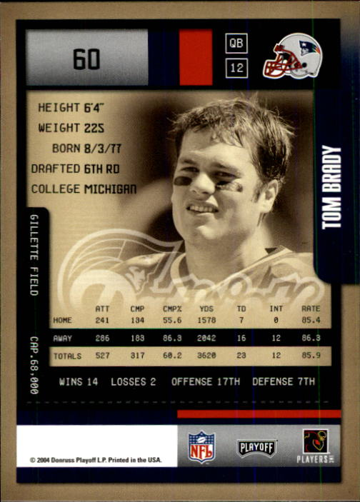 2004 Playoff Contenders #60 Tom Brady back image