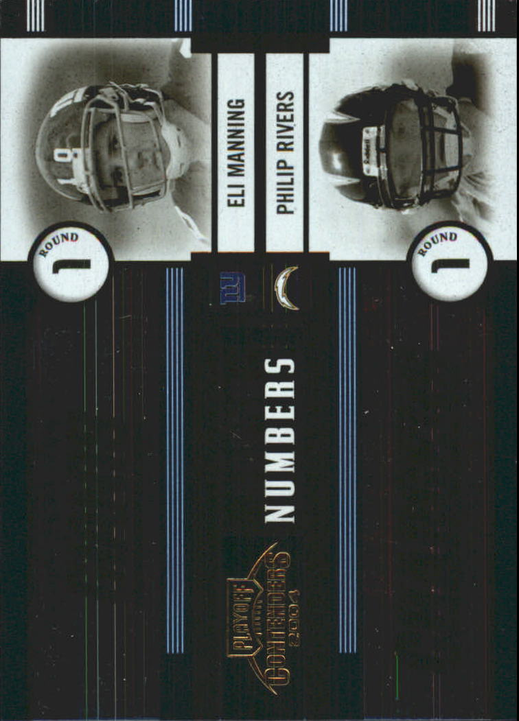 2004 Playoff Contenders Round Numbers Blue #RN1 Eli Manning/Philip Rivers