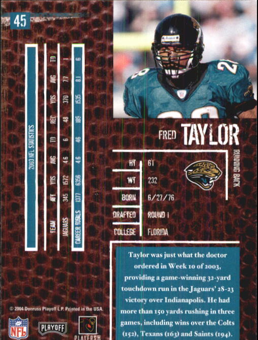 2004 Playoff Hogg Heaven #45 Fred Taylor back image