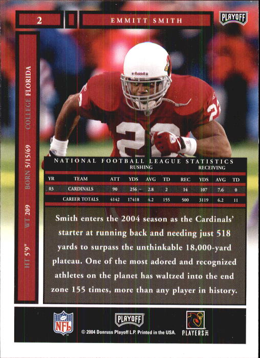 2004 Playoff Honors #2 Emmitt Smith back image