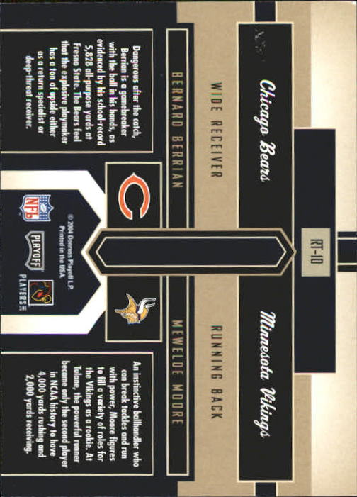 2004 Playoff Honors Rookie Tandem #RT10 Bernard Berrian/Mewelde Moore back image