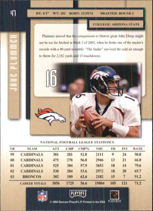 2004 Playoff Prestige #47 Jake Plummer back image