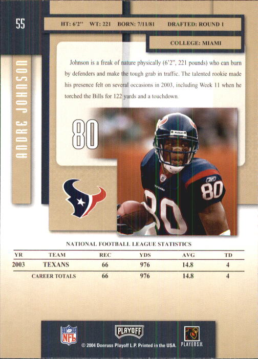 2004 Playoff Prestige #55 Andre Johnson back image