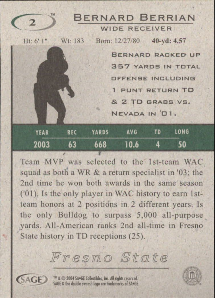 2004 SAGE HIT #2 Bernard Berrian back image