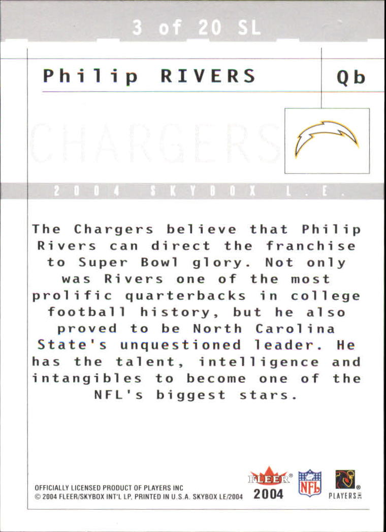 2004 SkyBox LE Sky's the Limit #3SL Philip Rivers back image