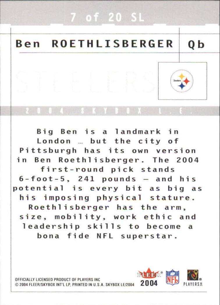 2004 SkyBox LE Sky's the Limit #7SL Ben Roethlisberger back image