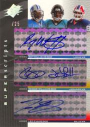 2004 SPx Super Scripts Triple Autographs #WWE Roy Williams /Reggie Williams/Lee Evans/25 ERR
