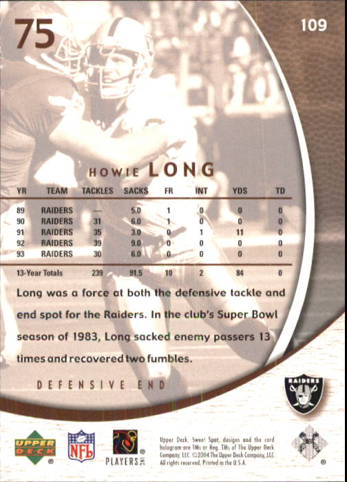 2004 Sweet Spot #109 Howie Long back image