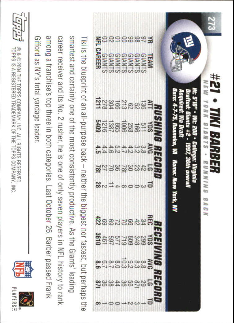 2004 Topps First Edition #273 Tiki Barber back image