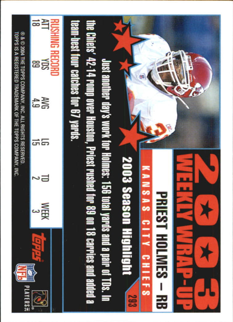 2004 Topps First Edition #293 Priest Holmes WW back image