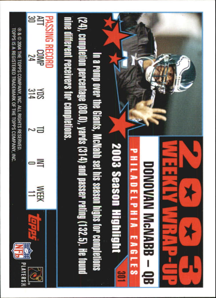 2004 Topps First Edition #301 Donovan McNabb WW back image