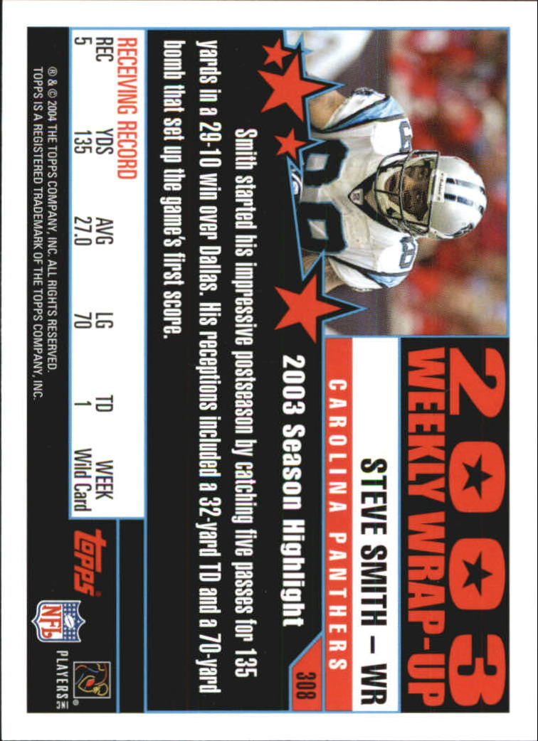 2004 Topps First Edition #308 Steve Smith WW back image
