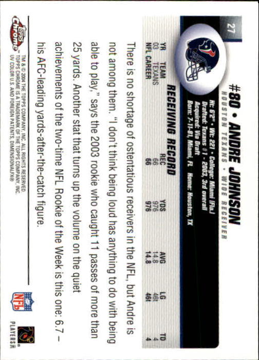 2004 Topps Chrome #27 Andre Johnson back image