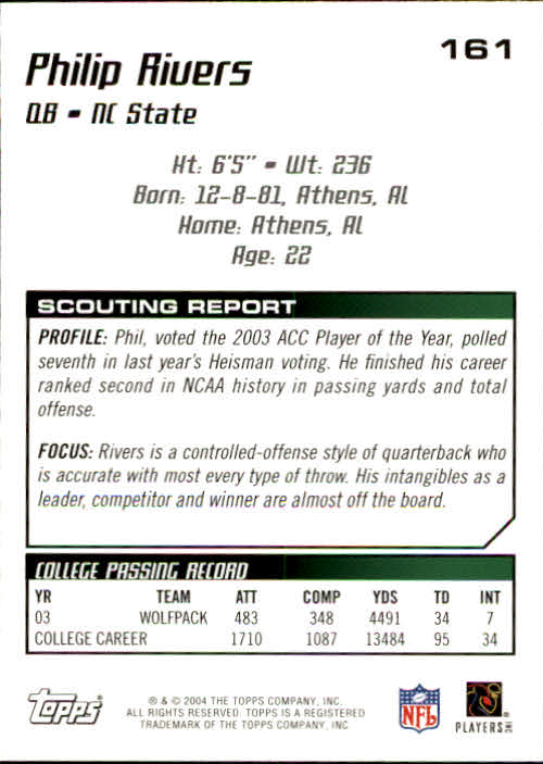 2004 Topps Draft Picks and Prospects #161 Philip Rivers RC back image