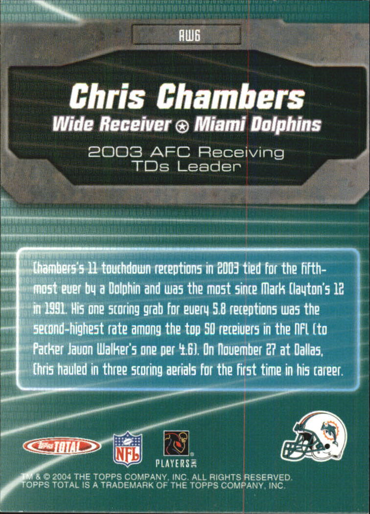 2004 Topps Total Award Winners #AW6 Chris Chambers back image