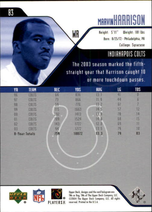 2004 Upper Deck #83 Marvin Harrison back image