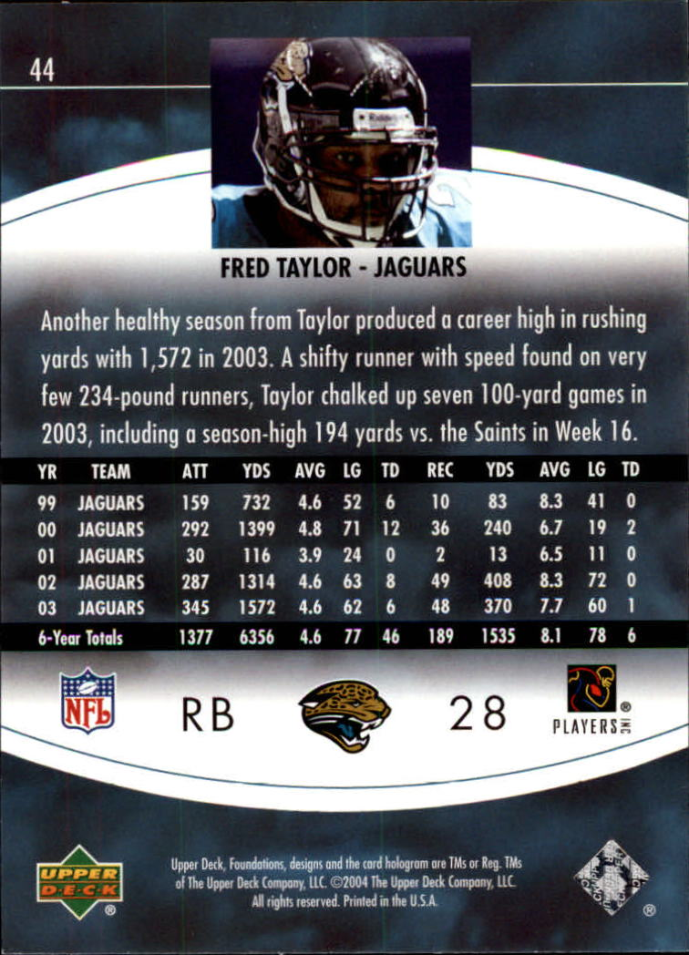 2004 Upper Deck Foundations #44 Fred Taylor back image
