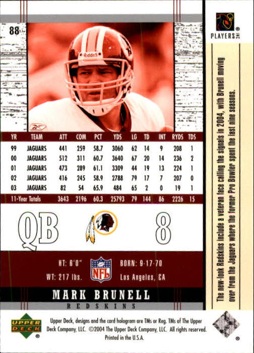 2004 Upper Deck Legends #88 Mark Brunell back image