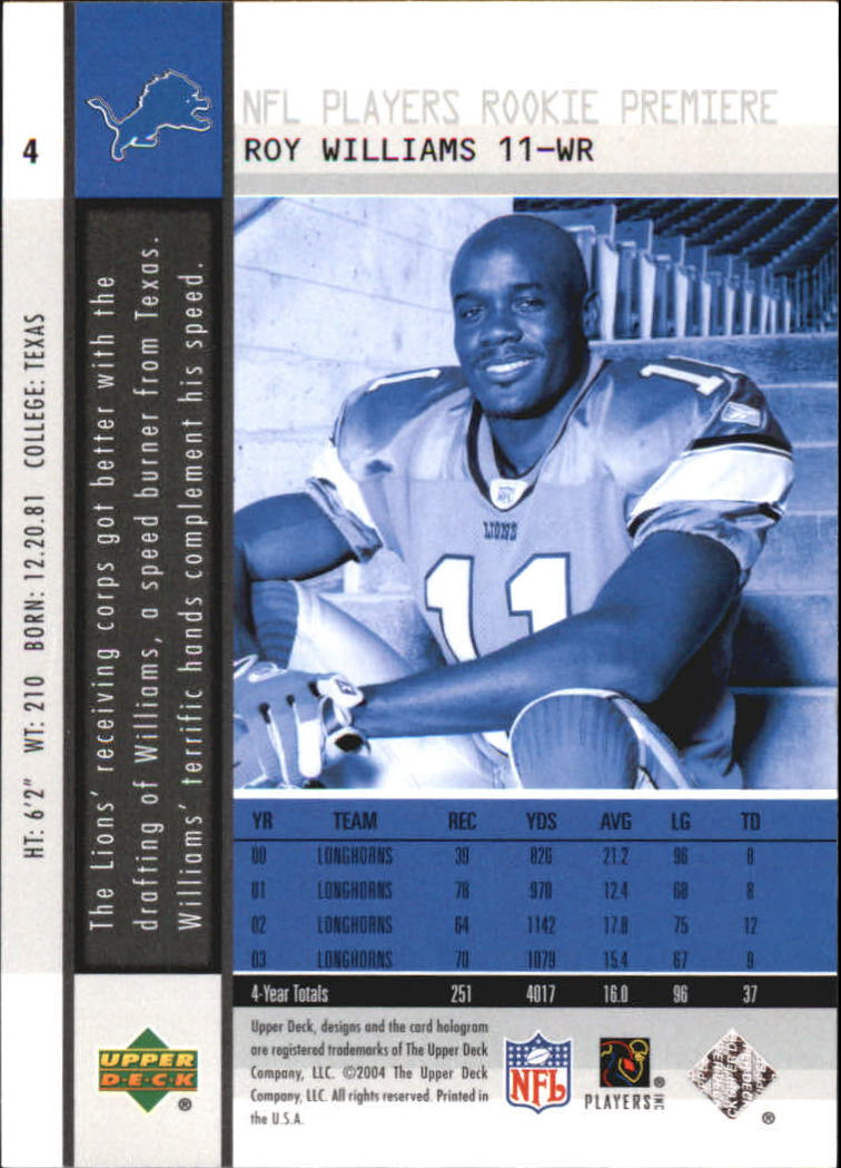 2004 Upper Deck Rookie Premiere #4 Roy Williams WR back image