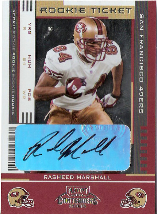 2005 Playoff Contenders #161 Rasheed Marshall AU RC