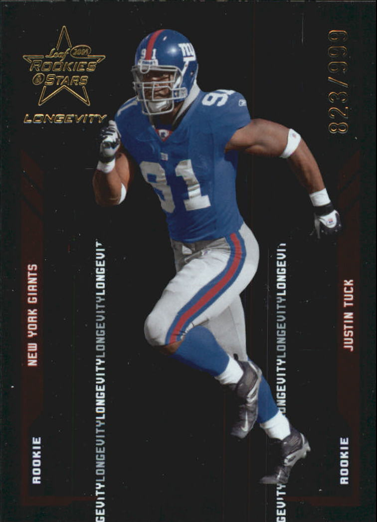 2005 Leaf Rookies and Stars Longevity #130 Justin Tuck RC