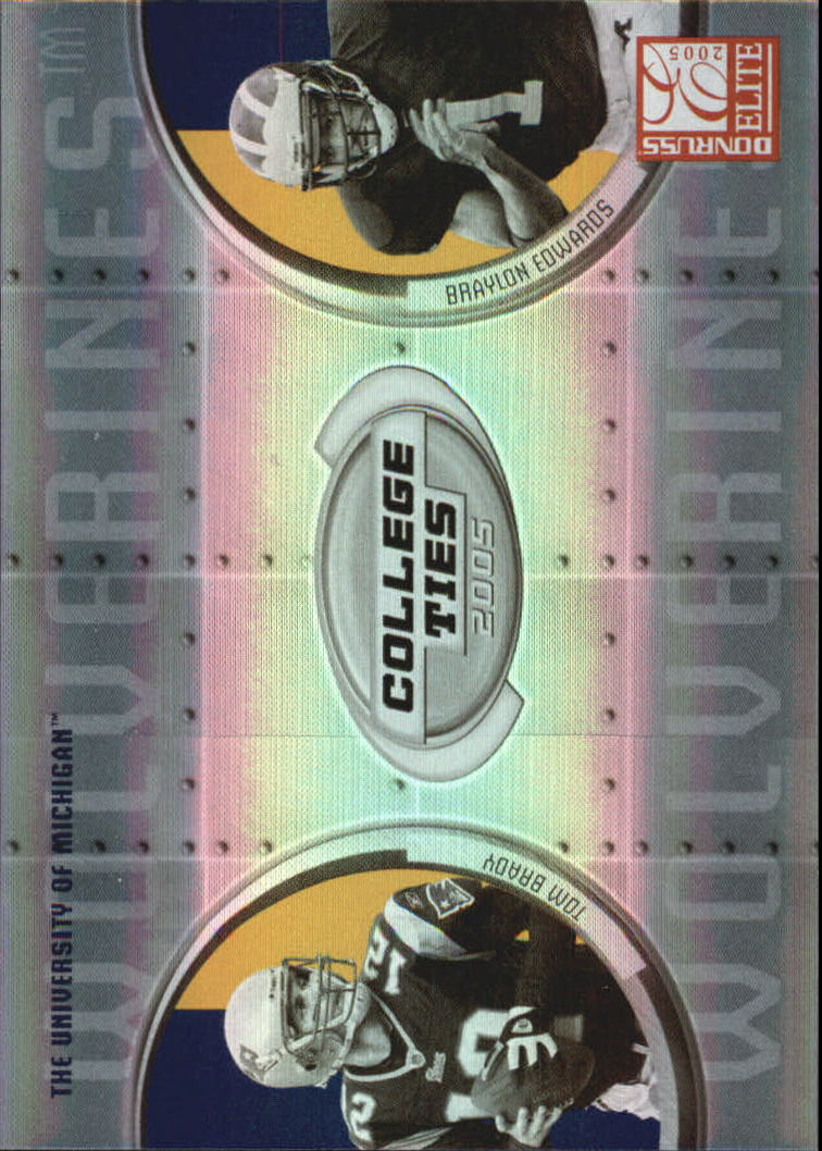 2005 Donruss Elite College Ties #CT6 Tom Brady/Braylon Edwards