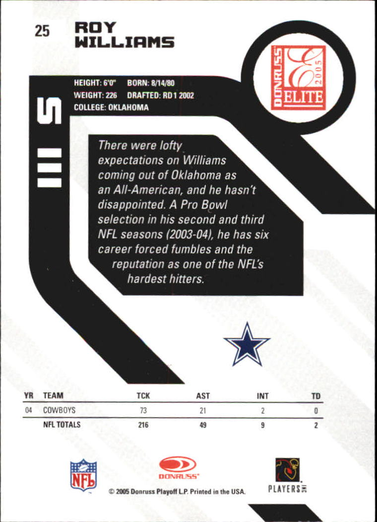 2005 Donruss Elite #25 Roy Williams S back image