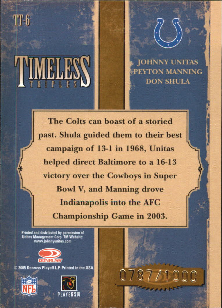 2005 Donruss Classics Timeless Triples Bronze #6 Johnny Unitas/Peyton Manning/Don Shula back image