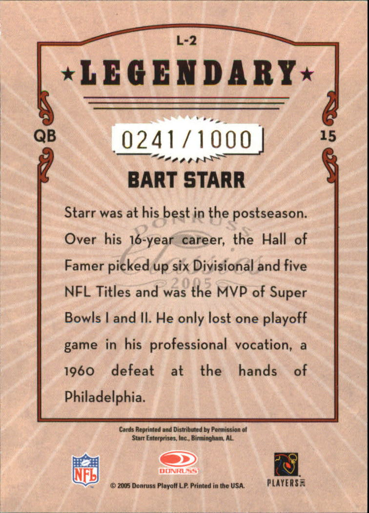 2005 Donruss Classics Legendary Players Bronze #L2 Bart Starr