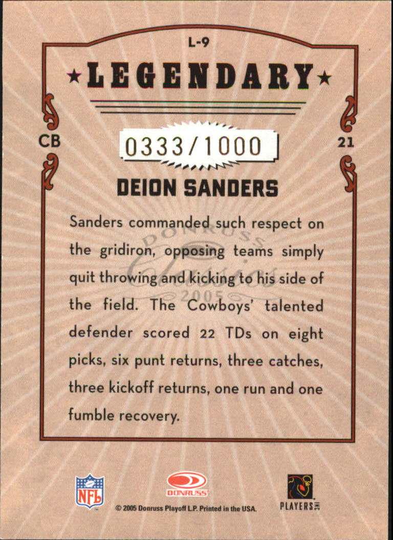 2005 Donruss Classics Legendary Players Bronze #L9 Deion Sanders back image