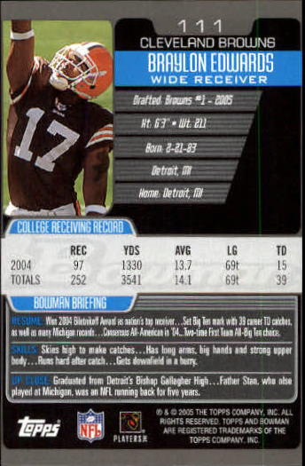 2005 Bowman #111 Braylon Edwards RC back image