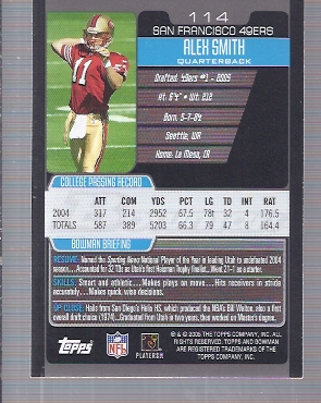 2005 Bowman #114 Alex Smith QB RC back image