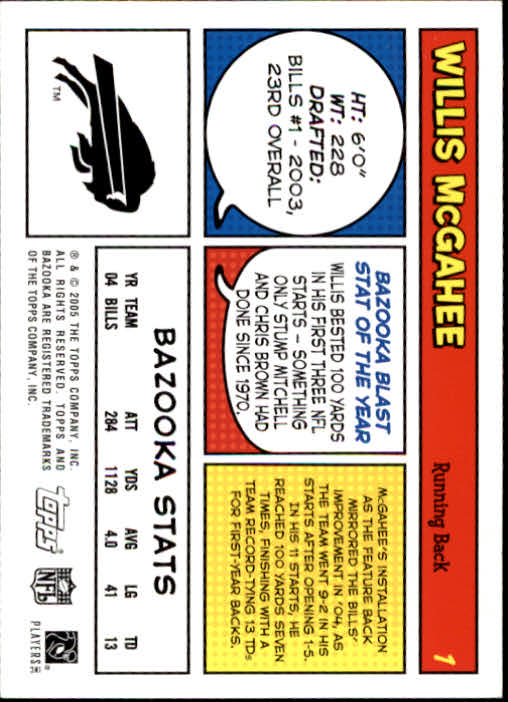2005 Bazooka #1 Willis McGahee back image