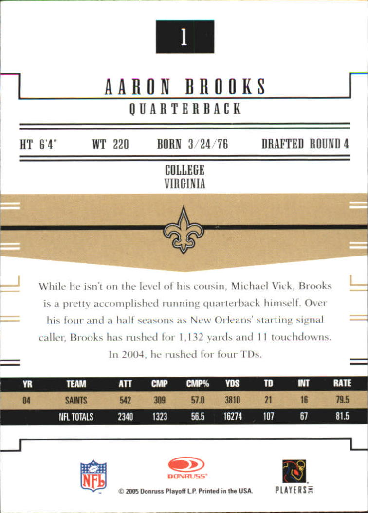 2005 Donruss Gridiron Gear #1 Aaron Brooks back image