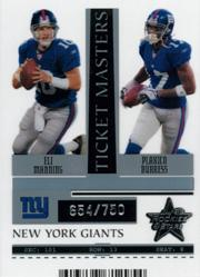 2005 Leaf Rookies and Stars Ticket Masters Silver Season #TM17 Eli Manning/Plaxico Burress