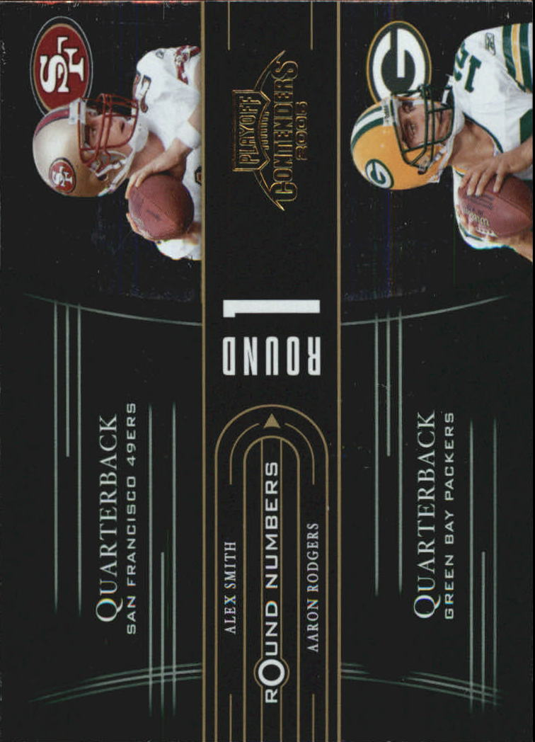 2005 Playoff Contenders Round Numbers Green #RN1 Alex Smith QB/Aaron Rodgers