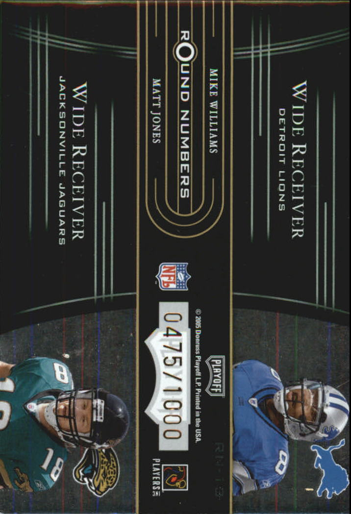 2005 Playoff Contenders Round Numbers Green #RN13 Braylon Edwards/Troy Williamson/Mike Williams/Matt Jones back image